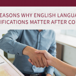 English Language Qualifications matter in todays world. Two people shake hands after a successful job interview because applicant had these qualifications.